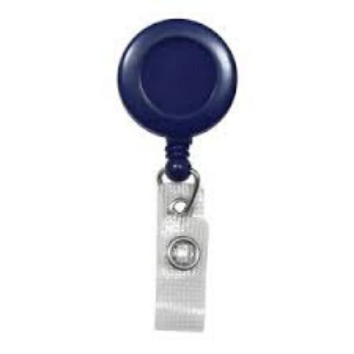 Blue Badge Reel with Belt Clip, No Sticker, Reinforced Vinyl Strap