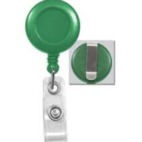 Green Badge Reel with Belt Clip, No Sticker, Reinforced Vinyl Strap