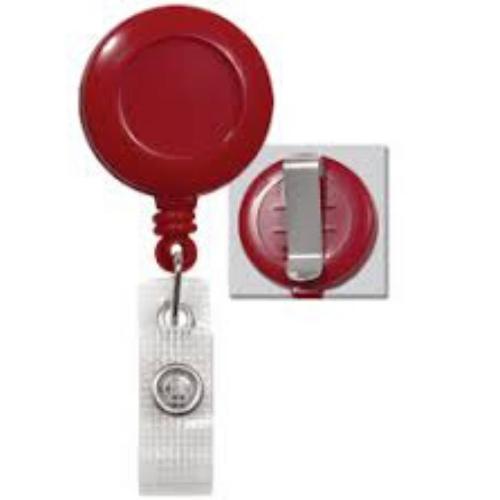 Red Badge Reel with Belt Clip, No Sticker, Reinforced Vinyl Strap