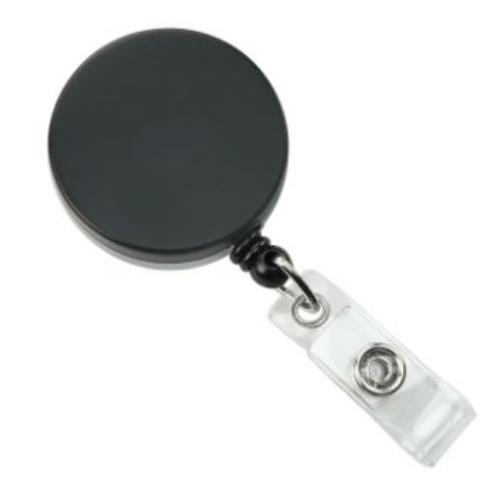 Black/Chrome Heavy Duty Badge Reel with Nylon Cord, Clear Vinyl Strap