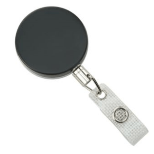 Black/Chrome Heavy Duty Badge Reel with Chain Cord, Reinforced Vinyl Strap
