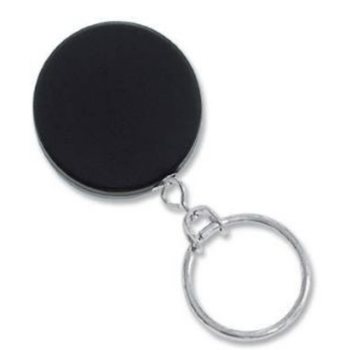 Black/Chrome Heavy Duty Badge Reel with Chain Cord, Key Ring