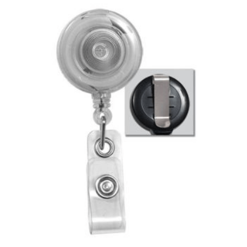 Clear Translucent Badge Reel with Belt Clip, Clear Vinyl Strap