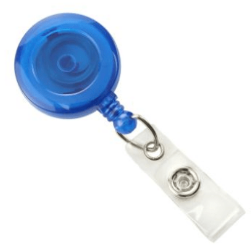 Blue Translucent Badge Reel with Belt Clip, Clear Vinyl Strap
