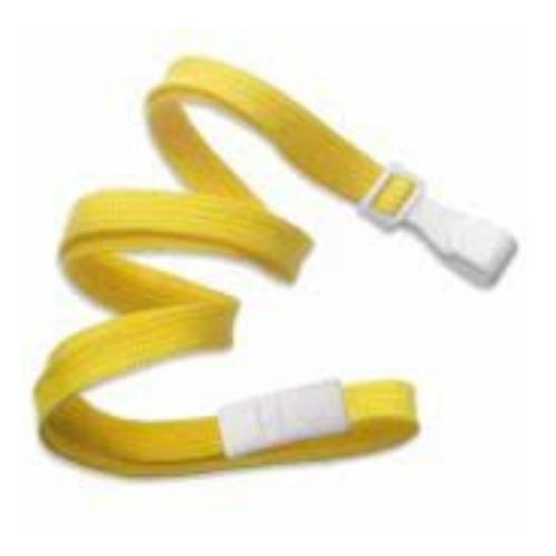 10mm Classic Flat Breakaway Lanyards Wide Plastic No-Twist Hook - Yellow
