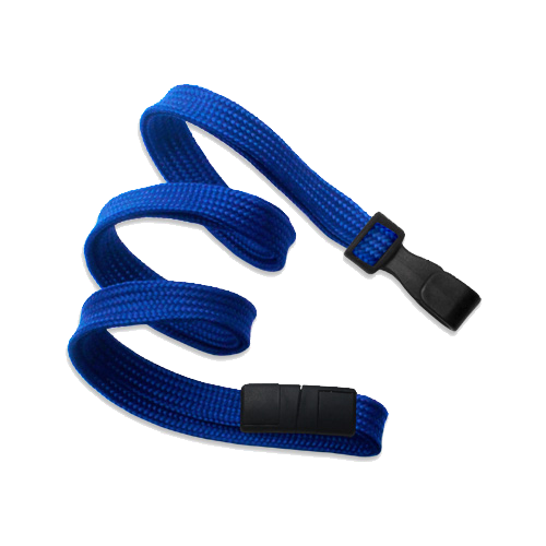 10mm Classic Flat Breakaway Lanyards Wide Plastic No-Twist Hook - Royal Blue