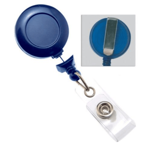 Royal Blue No-twist Badge Reel with Belt Clip, No Sticker, Clear Vinyl Strap