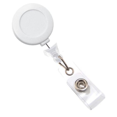 White No-twist Badge Reel with Belt Clip, No Sticker, Clear Vinyl Strap