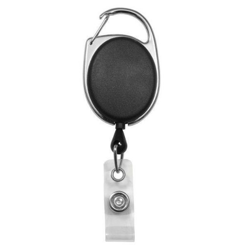 Black Opaque Premier Badge Reel with Carabiner-style Attachment, Clear Vinyl Strap