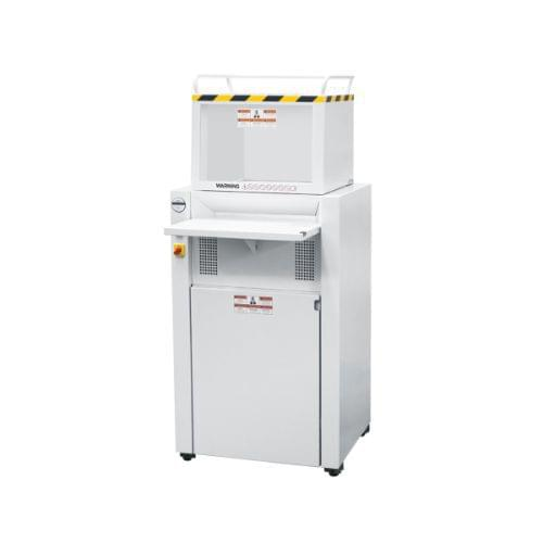 EBA 5346 CC P-5 security level. Compact high-capacity shredder with automatic oiler and feeding hopper for crumpled paper. Provides data security for an entire office floor.