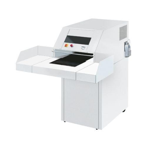 EBA 6340 C3 P-4 security level. High-capacity shredder with large feeding table and conveyor belt.