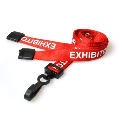 Red Exhibitor Lanyards with Plastic J Clip (Pack of 100)