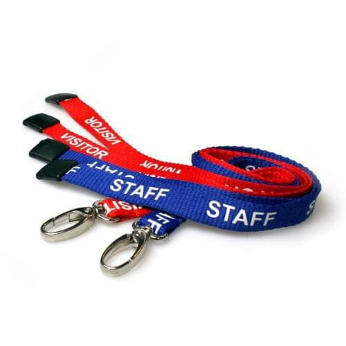 50 Royal Blue Staff & 50 Red Visitor Lanyards with Metal Lobster Clip (Pack of 100)