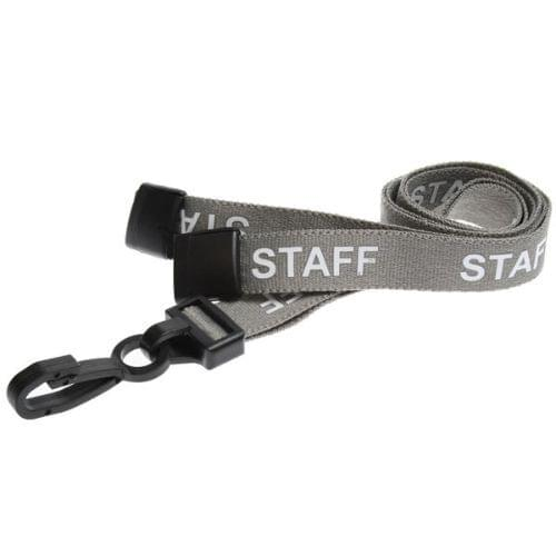 Grey Staff Lanyards with Plastic J Clip (Pack of 100)