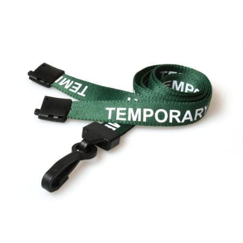 Green Temporary Lanyards with Plastic J Clip (Pack of 100)