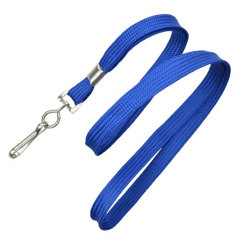 Blue 10 mm Classic Flat Non-Breakaway Lanyard with Metal Swivel Hook