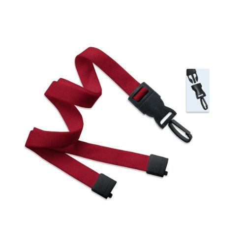 Detachable Flat Braided Red Lanyard  w/Breakaway & Plastic Swivel Hook