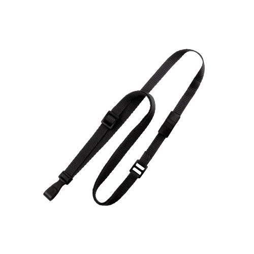 Non Classic Lanyard Black 10 mm  Adjustable with Belt-Type Slide Black No-Twist Plastic Hook