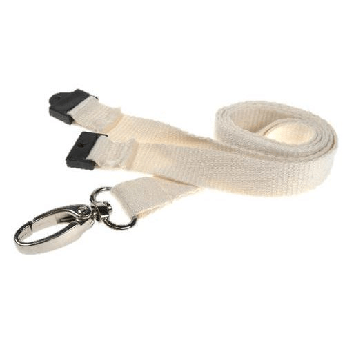 White Bamboo Lanyards with Breakaway and Metal Lobster Clip