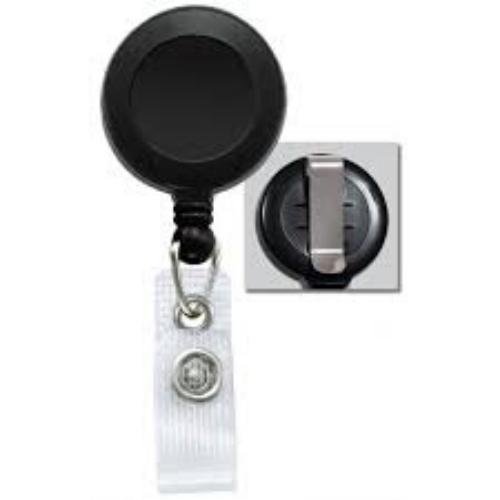 Black Badge Reel with Belt Clip, No Sticker, Reinforced Vinyl Strap