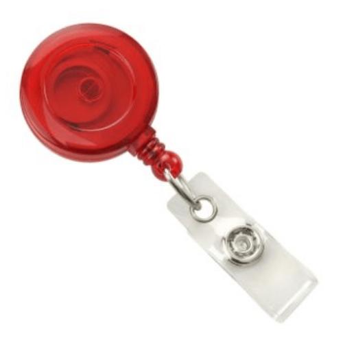 Red Translucent Badge Reel with Belt Clip, Clear Vinyl Strap