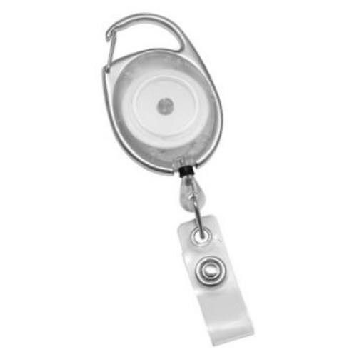 Clear Translucent Premier Badge Reel with Carabiner-style Attachment, Clear Vinyl Strap