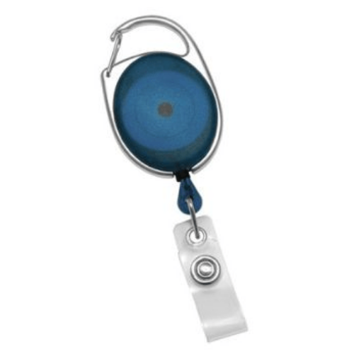 Blue Translucent Premier Badge Reel with Carabiner-style Attachment, Clear Vinyl Strap