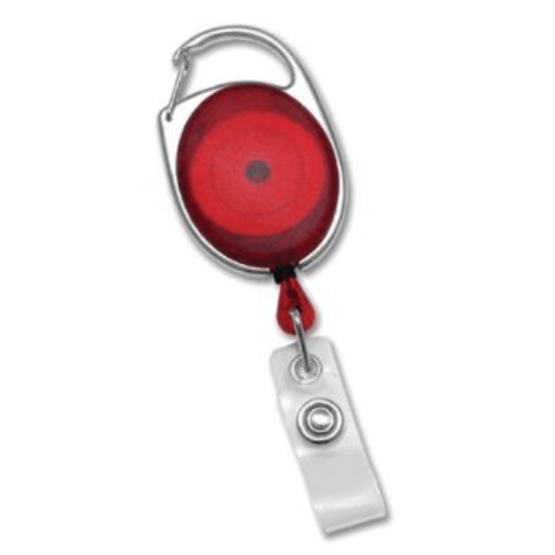 Red Translucent Premier Badge Reel with Carabiner-style Attachment, Clear Vinyl Strap