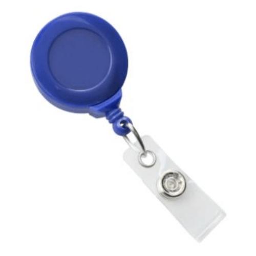Royal Blue Swivel-back No-twist Badge Reel with Swivel Crocodile Clip, Clear Vinyl Strap
