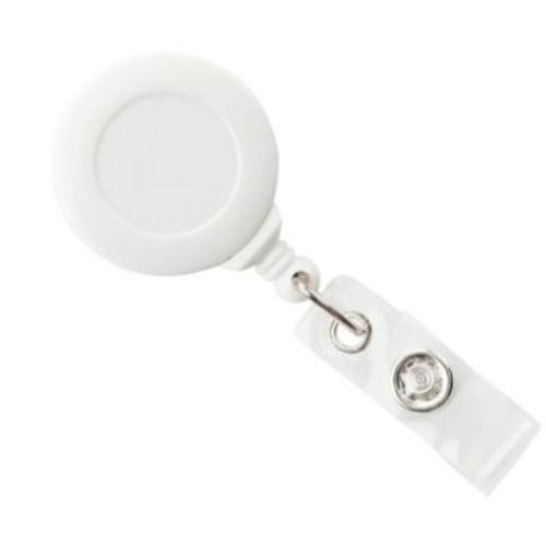 White Swivel-back No-twist Badge Reel with Swivel Crocodile Clip, Clear Vinyl Strap