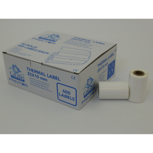 CoLibri Printer Labels 25 x 10mm - 600 Labels Per Roll