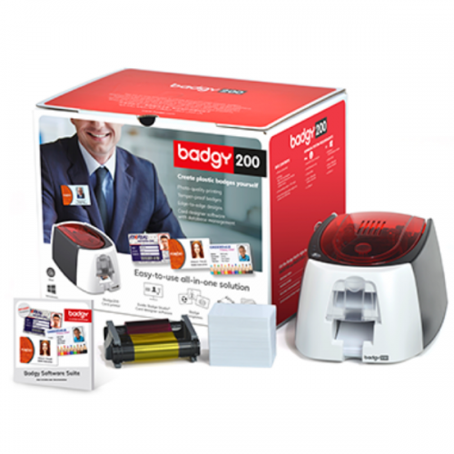 Evolis Badgy 200 Printer Bundle Package with Printer, Full Colour Ribbon, 100 Blank Plastic Cards & Evolis Badge Studio+ Card Design Software