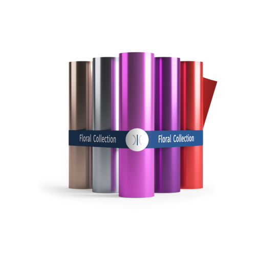 Sleeking Foils The Floral Collection - Rose Gold, Silver, Pink, Violet & Red 60 Metre Rolls 76mm Core