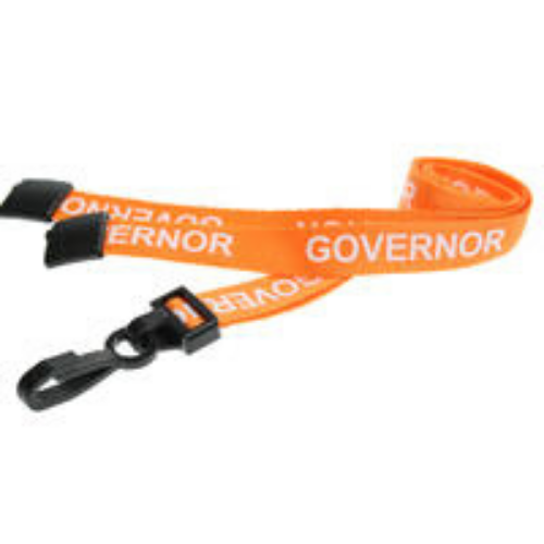 Orange Governor Lanyards with Plastic J Clip (Pack of 100)