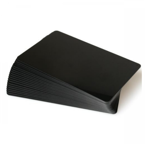 Black Gloss Premium 760 Micron Cards, Coloured Core - Pack of 100