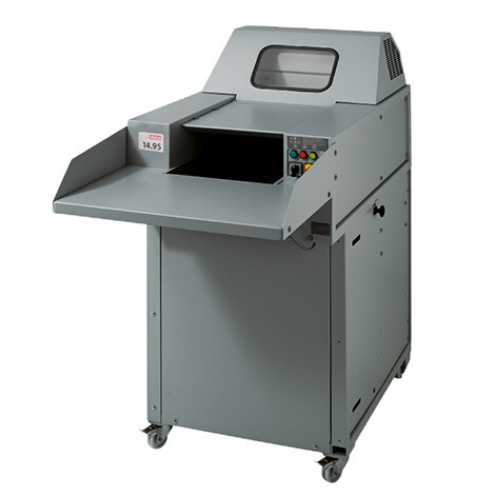 Intimus 14.95 P-3 security level. High-capacity shredder with large feeding table and conveyor belt.