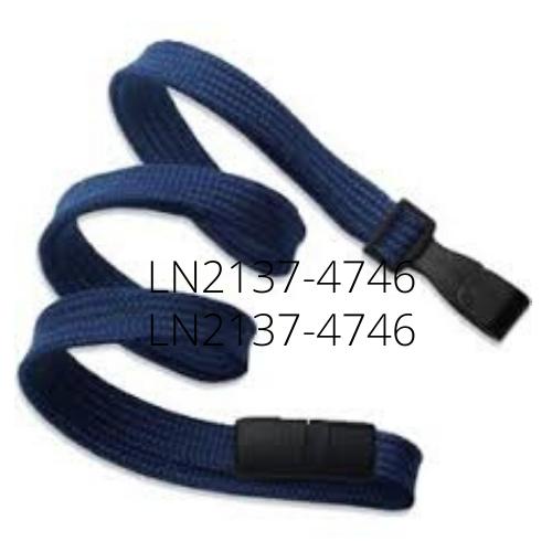 10mm Classic Flat Breakaway Lanyards Wide Plastic No-Twist Hook - Navy Blue