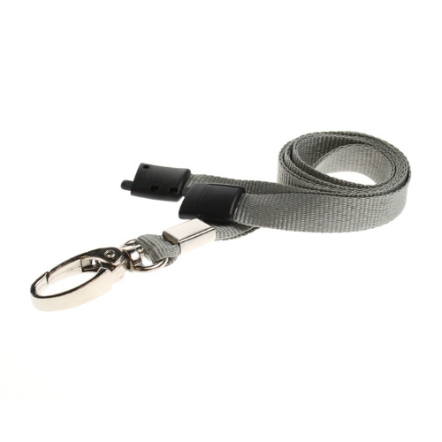 Grey Lanyards with Breakaway and Metal Lobster Clip - Pack of 100