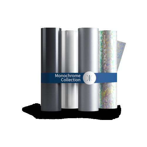 Sleeking Foils The Monochrome Collection - Black, White, Matt Silver, Clear Spot Gloss & Holographic Mosaic 60 Metre Rolls 76mm Core