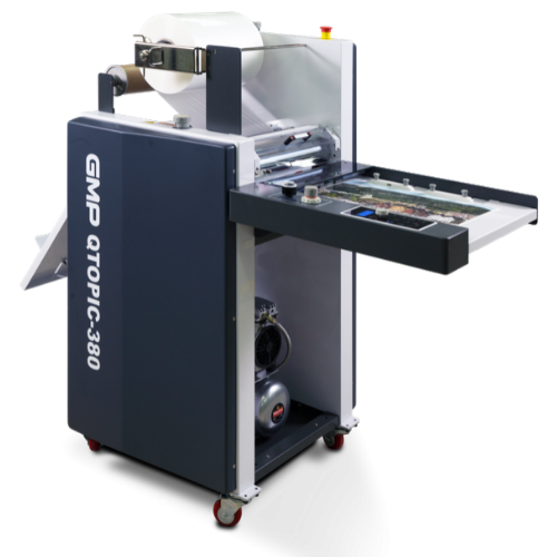 Q-Topic 380 laminating machine on-demand digital short run in-house laminating solution.