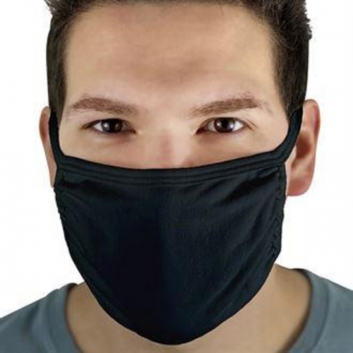 Re-useable 3 Ply Cotton Mask Black - Pack of 5