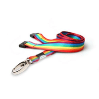 Rainbow lanyards with Metal Lobster Clip (Pack of 100)
