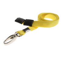 Yellow Lanyards with Breakaway and Metal Lobster Clip - Pack of 100