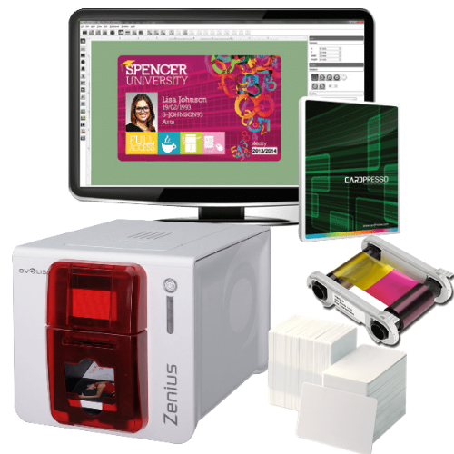Evolis Zenius GO GREEN ID Card Printer Bundle with Printer, Colour Ribbon, 100  Bio Degradable Cards & Lanyards and Card Design Software
