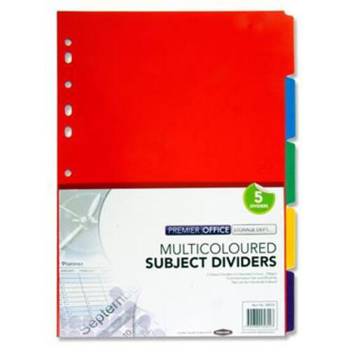 Premier Office 230Gsm Subject Dividers - 5 Part
