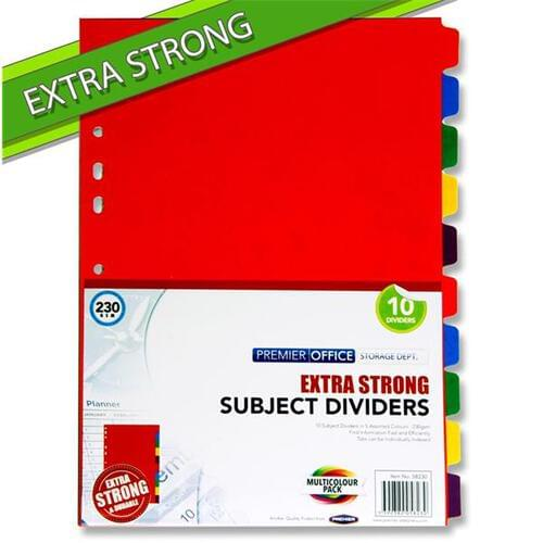 Premier Office 230gsm Extra Strong Subject Dividers - 10 Part