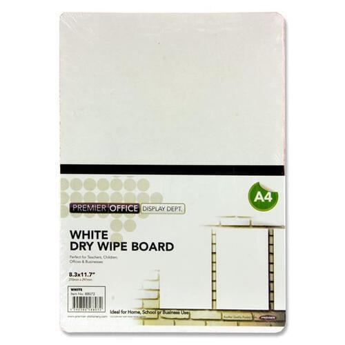 Premier Office A4 Coloured Dry Wipe Board - White