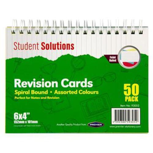 """Student Solutions 6""""X4"""" Spiral Revision Cards - Colour"""