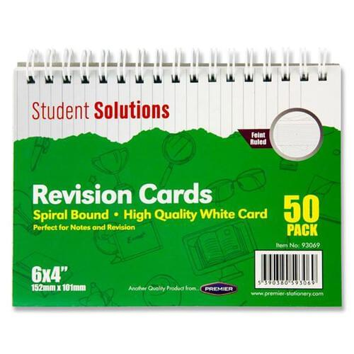Student Solutions Pkt.50 6Inch x4Inch Spiral Revision Cards - White