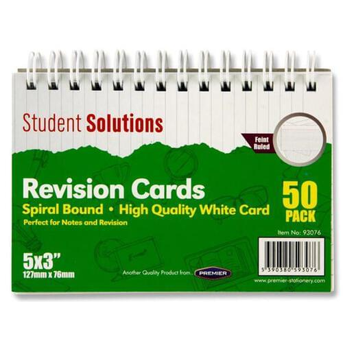 Student Solutions Pkt.50 5Inch x3Inch Spiral Revision Cards - White